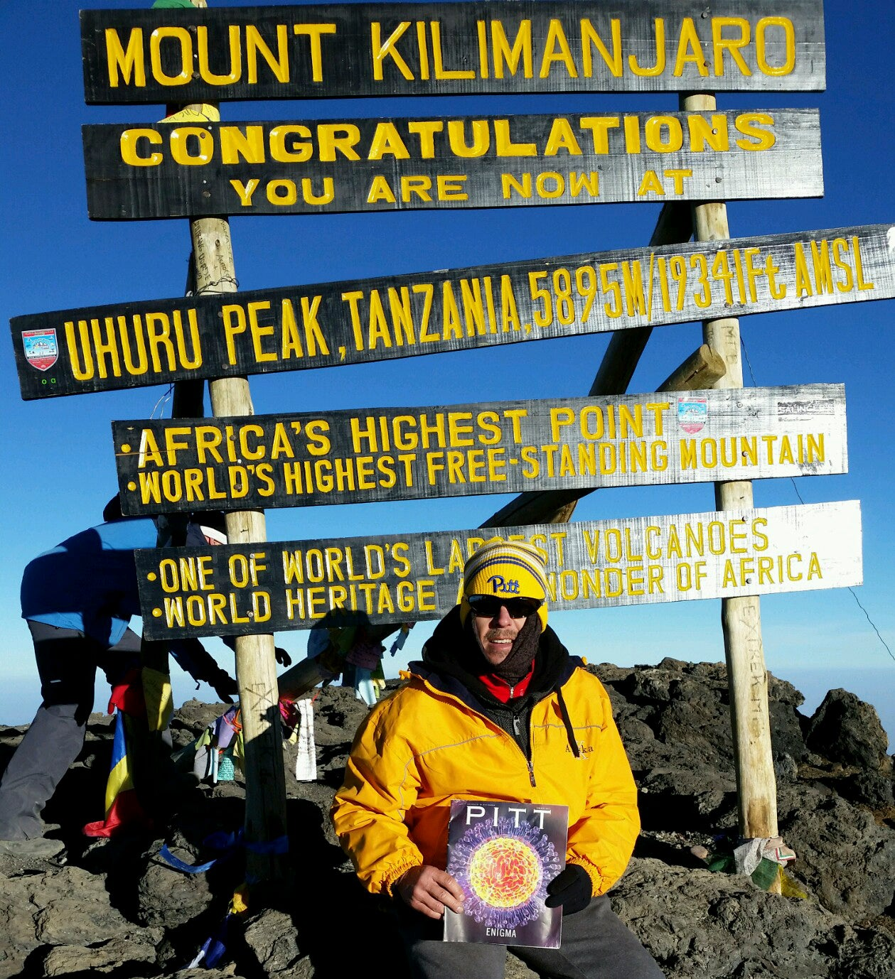 Chris Meilinger (PHARM '90) took Pitt Magazine to new heights when he brought it along on a climb to the top of Tanzania's famed Mount Kilimanjaro.