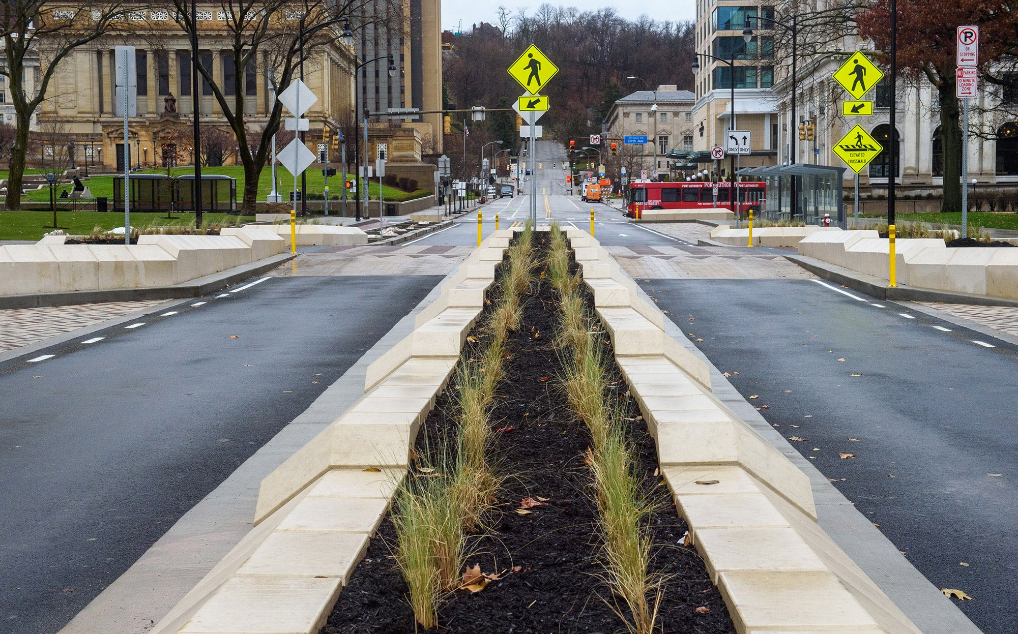 landscaped grassy lane between paved car lanes with raised pedestrian crossings