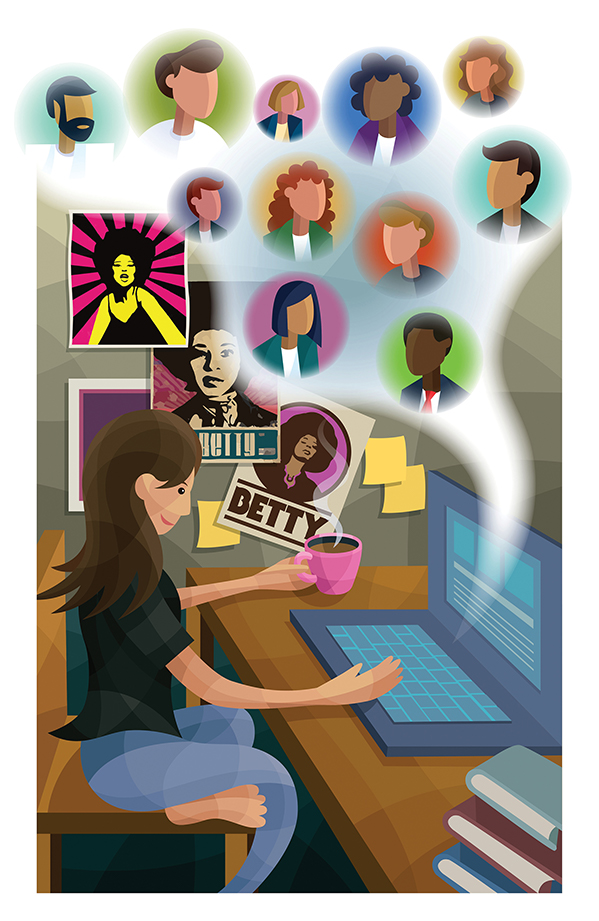 "illustration of brown-haired woman holding coffee cup in front of computer, posters of ""Betty"" on wall behind her along with yellow Post-it notes, the faces of virtual friends and family hover in the air above the woman at her desk"