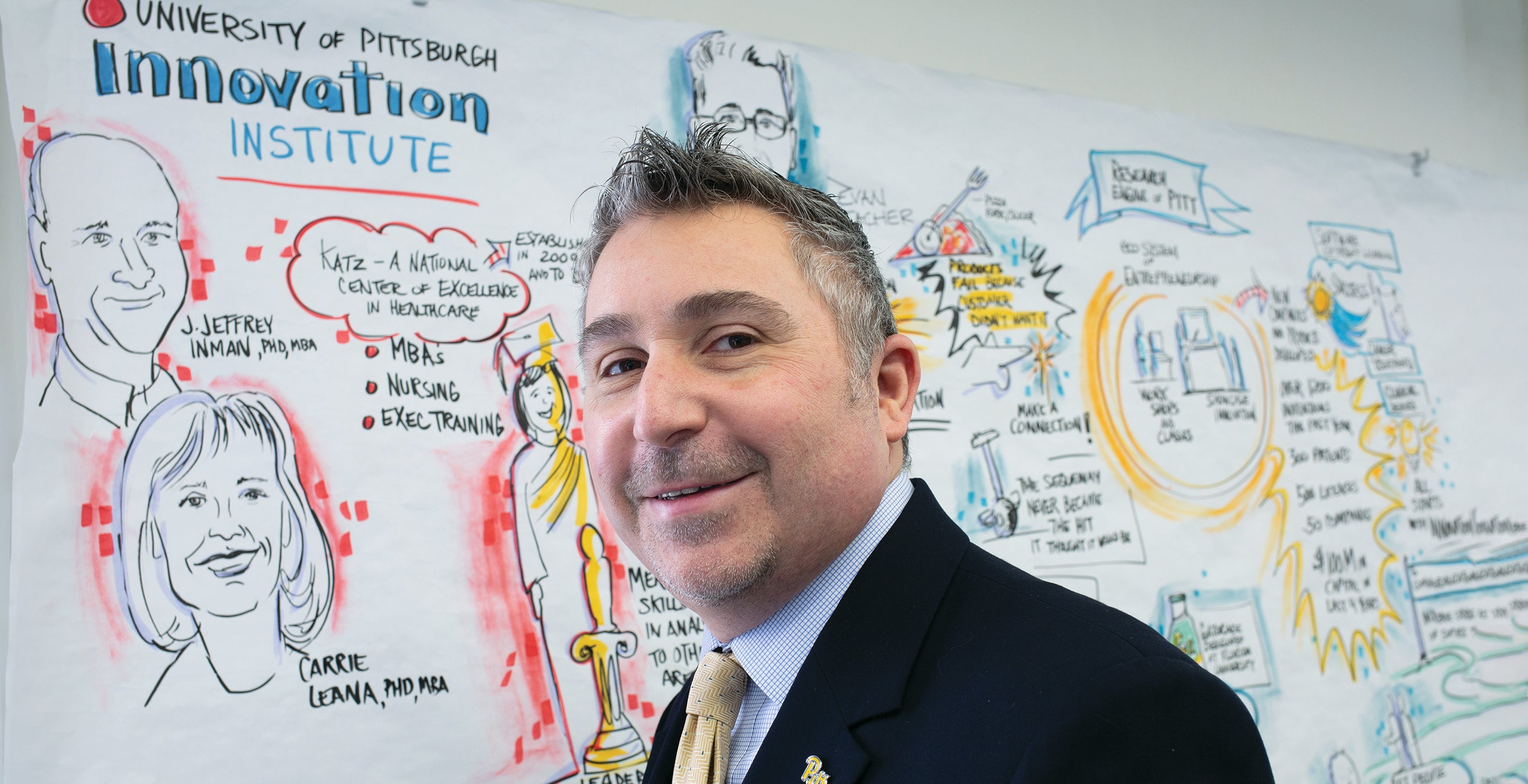 Evan Facher in front of colorful, cartoonish drawing of colleagues at the Innovation Institute.