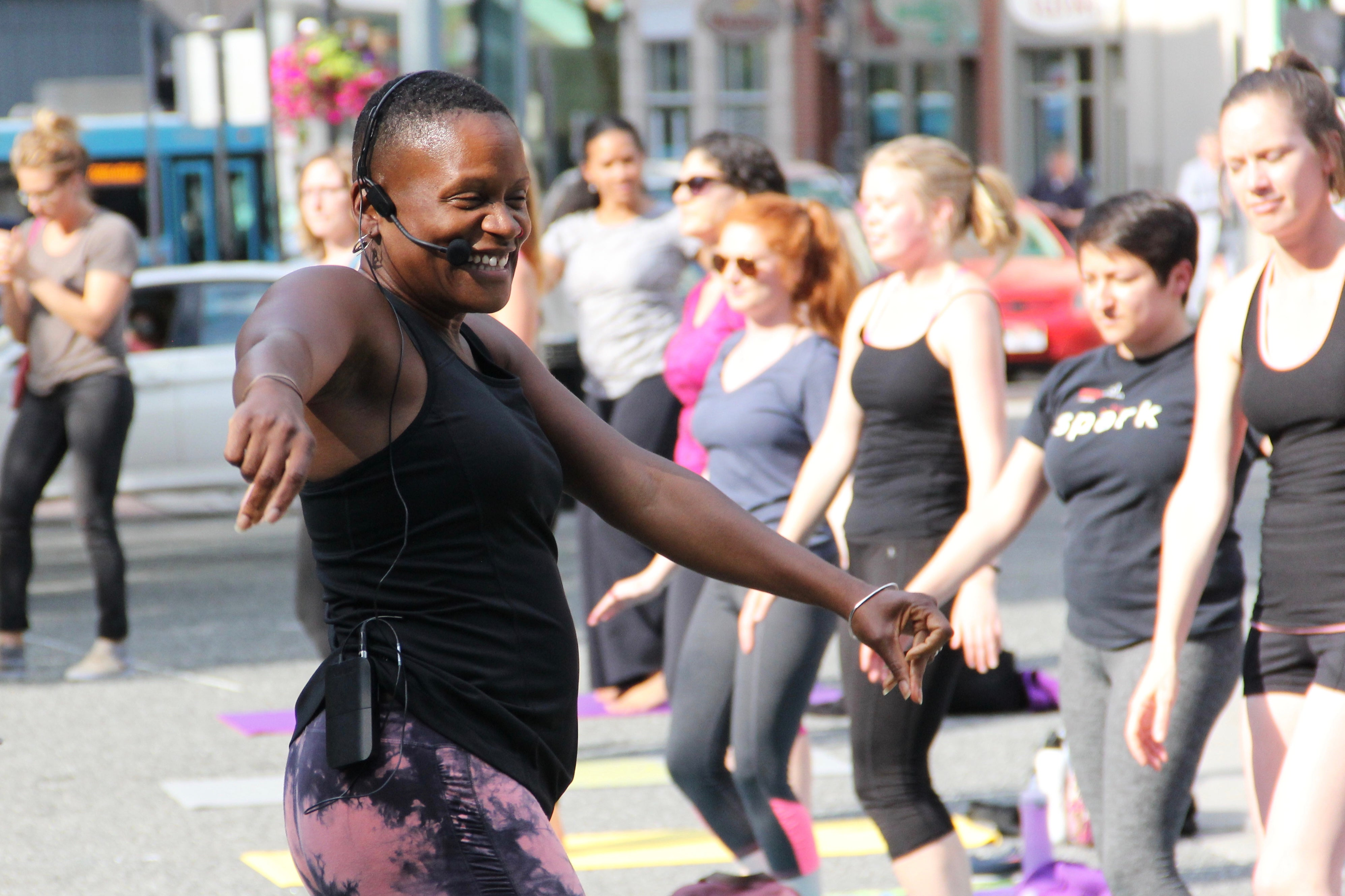 Felicia Savage Friedman teaches yoga in Market Square in downtown Pittsburgh.