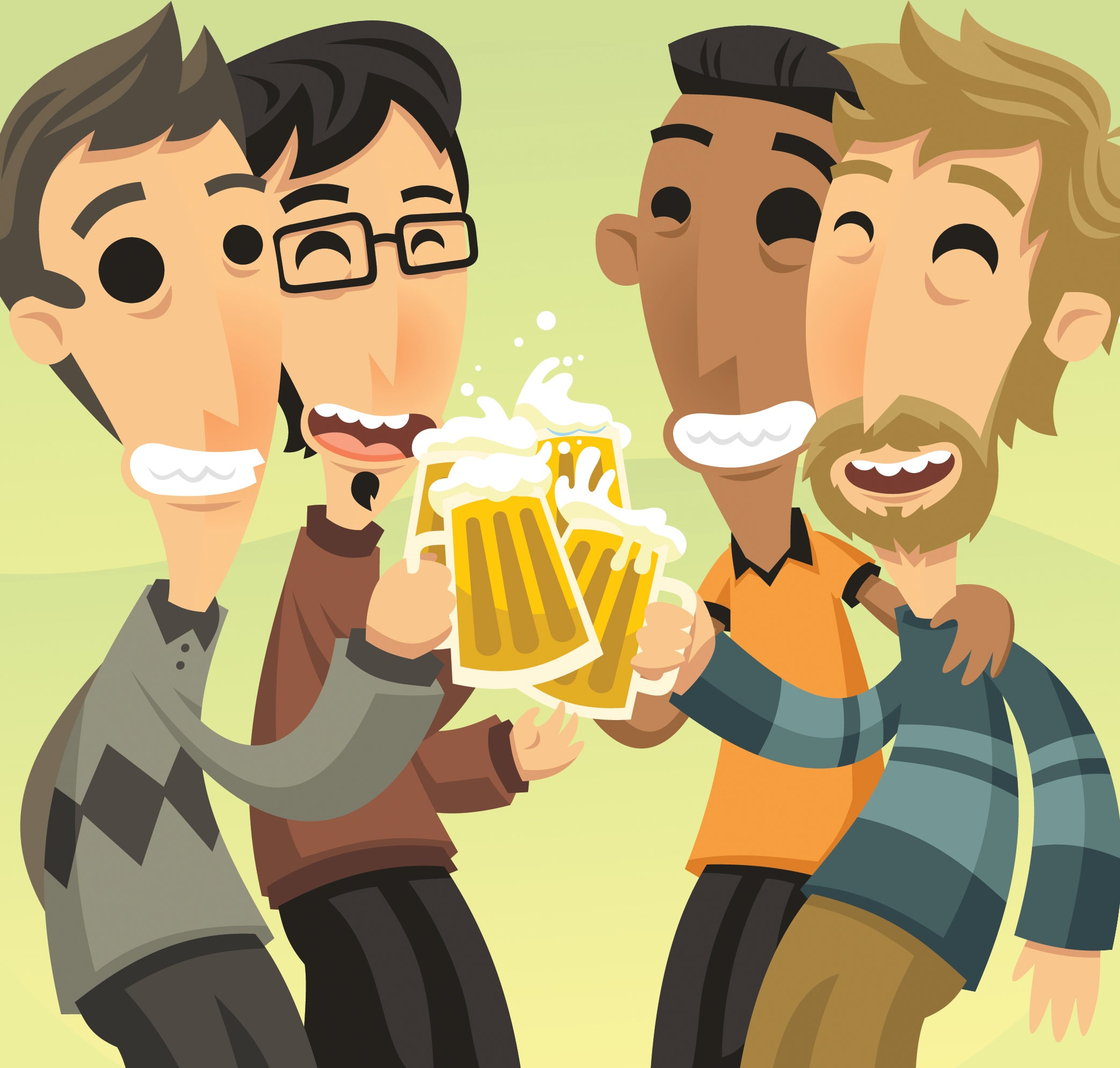 Clip art men gather for a pint of beer