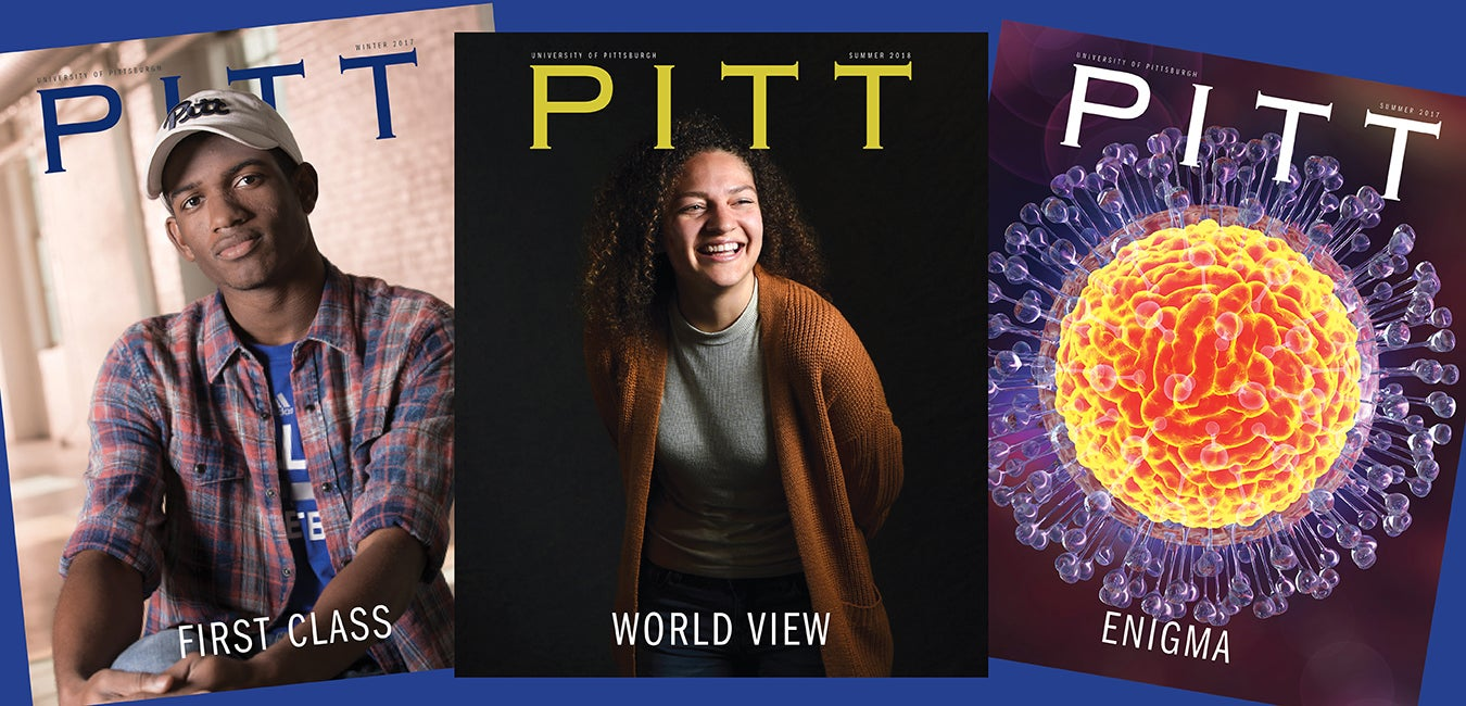 spread of three Pitt Magazine covers
