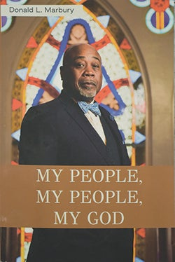 Cover of My People, My People, My God, with Marbury standing in front of a stained glass window.