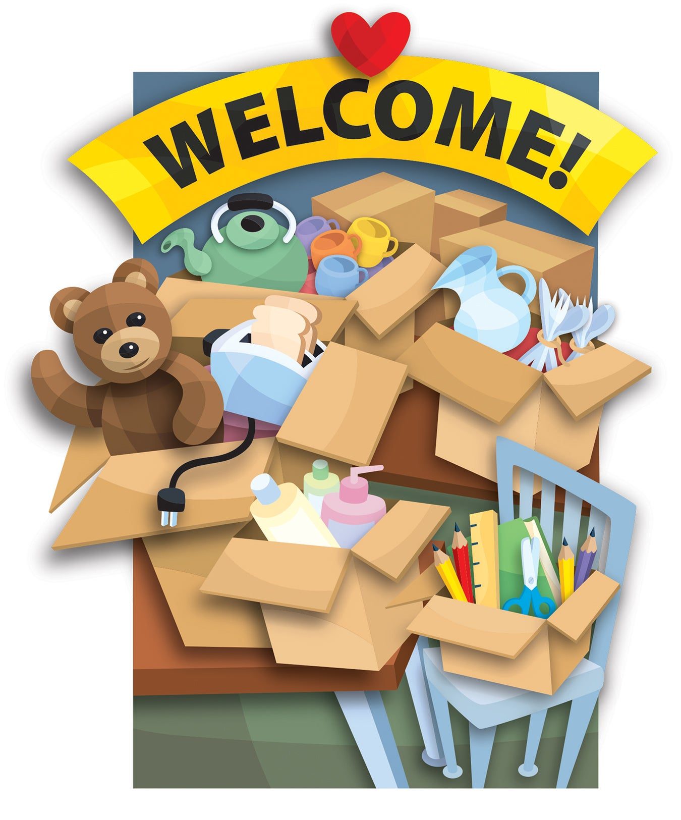 "A teddy bear, tea pot, toaster, utensils, etc. overflow from boxes, above which a sign reads ""Welcome!"""