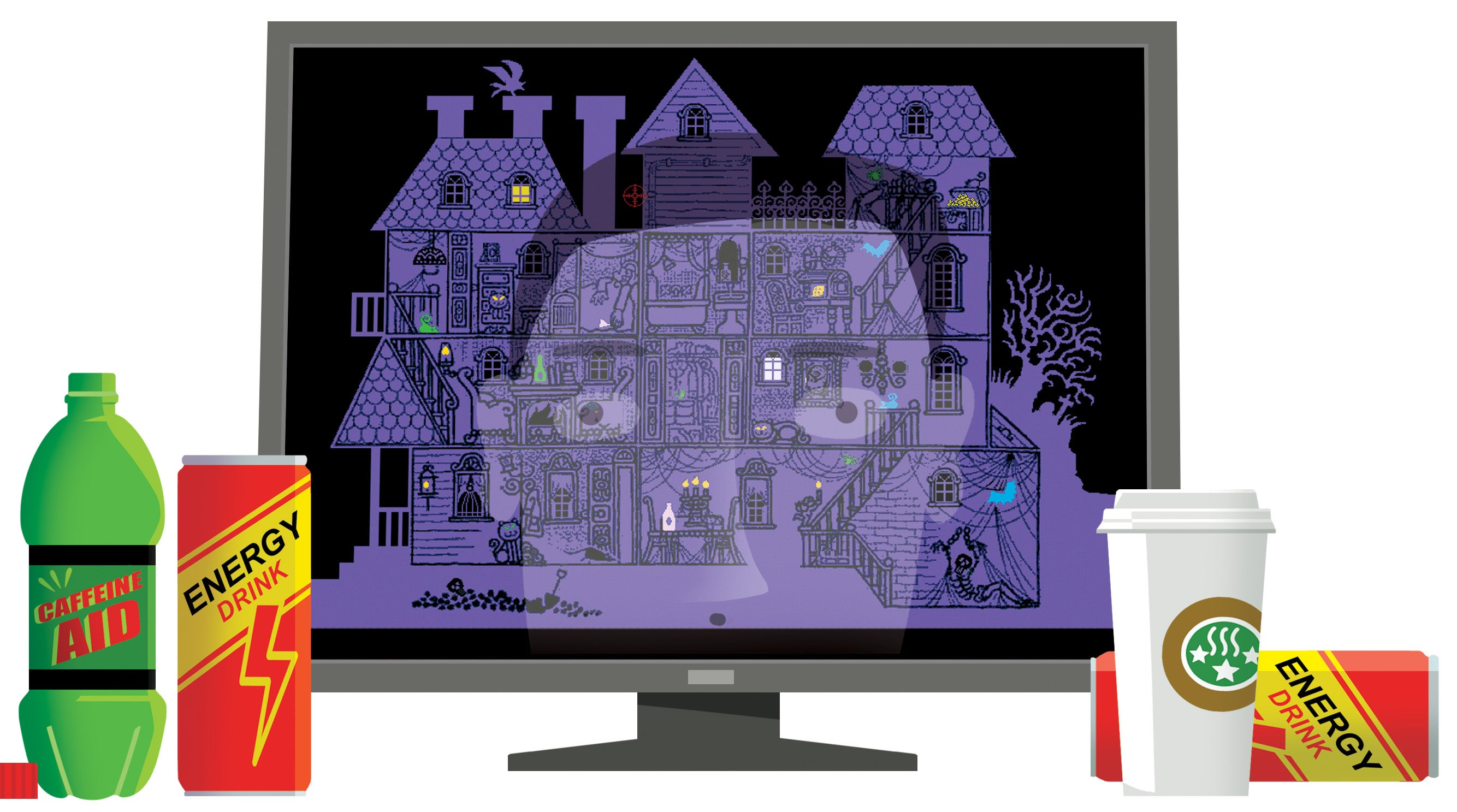 A screen showing a multi-level haunted house reflects the face of the mesmerized gamer, whose discarded caffeine drink containers sit beside the screen