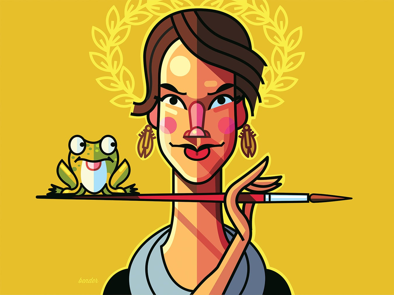 Illustration of Ashley Cecil holding a paintbrush horizontally with a frog sitting on the edge of the brush.