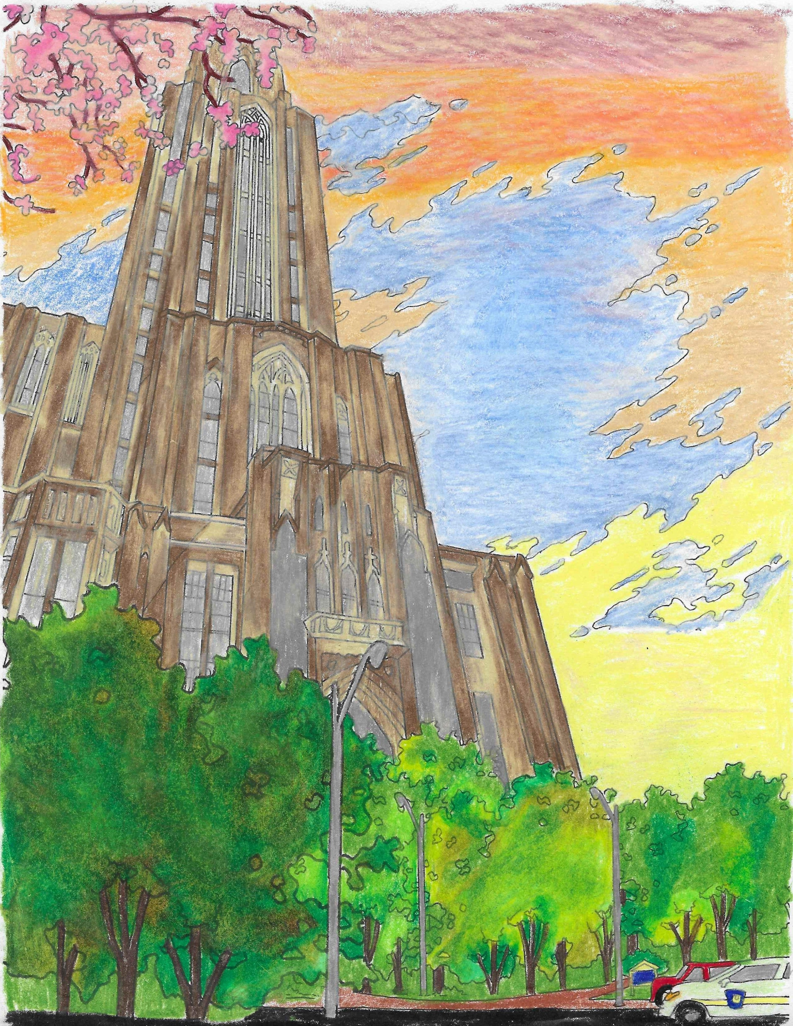 Cathedral of Learning at dawn or dusk, drawn with colored pencils