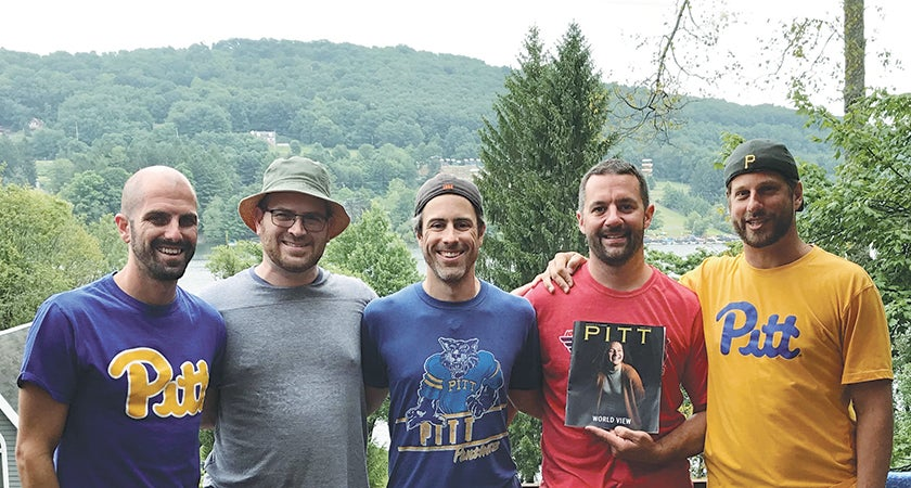 These former Tower A floormates take an annual trip to Maryland's Deep Creek Lake to remember the good old days—and catch up on their Pitt Magazine reading. From left to right: Daniel Doyle (A&S '02), Tim Baker (CGS '02, EDUC '06G), Nick Greer (A&S '02, EDUC '03G), Brent Hoover (ENGR '02), and Corey Seymour (ENGR '03).