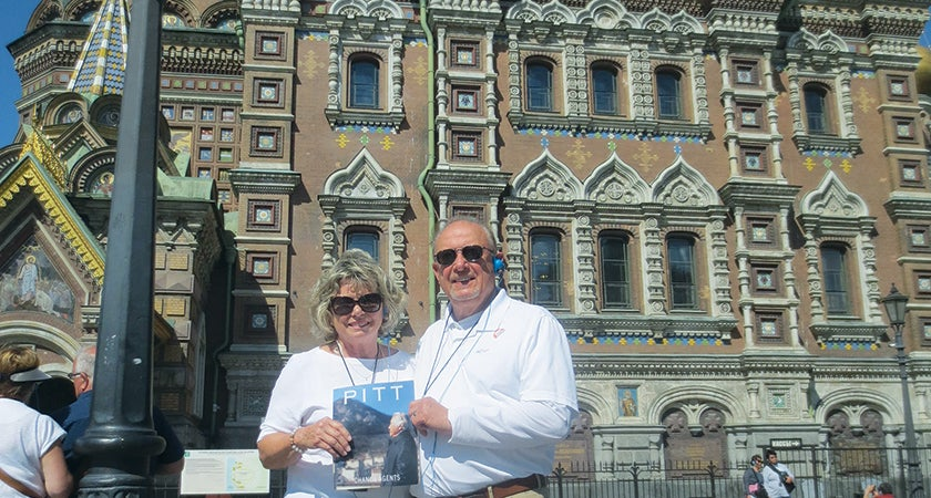 Richard and Marie Bagay stand in front of the Church of Our Savior on the Spilled Blood in St. Petersburg, Russia.
