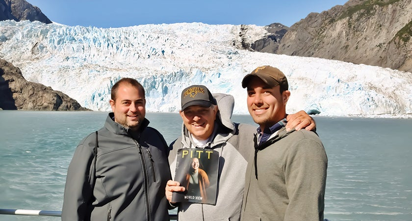 Greg Fratangelo (A&S '09), Dominic Fratangelo (A&S '71), and Brian Thoma (A&S '09) stayed warm on a trip to see the Margerie Glacier in Alaska's Glacier Bay National Park and Preserve with a cool bit of reading material: Pitt Magazine.