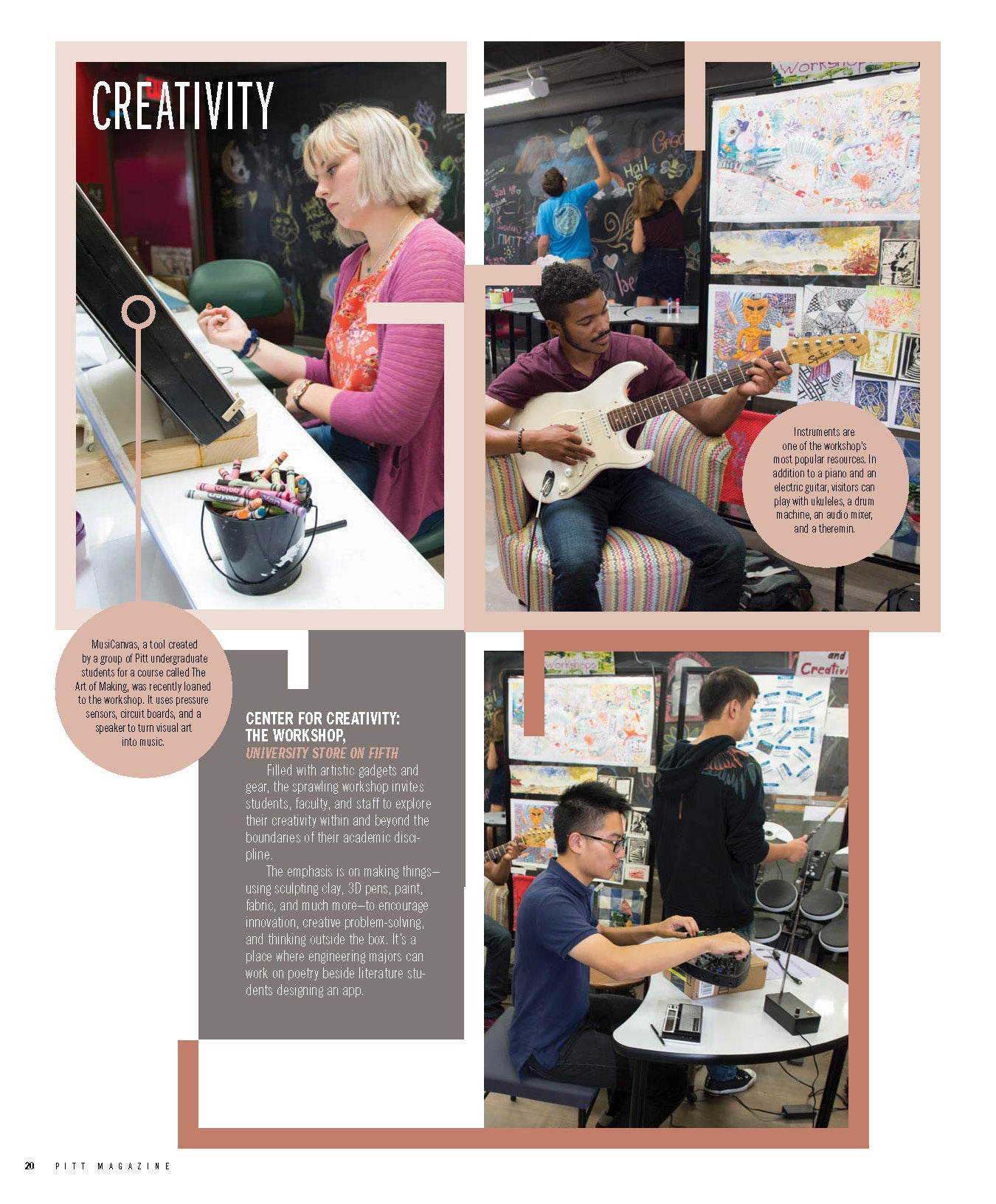Page from Pitt Magazine with photos of Center for Creativity.