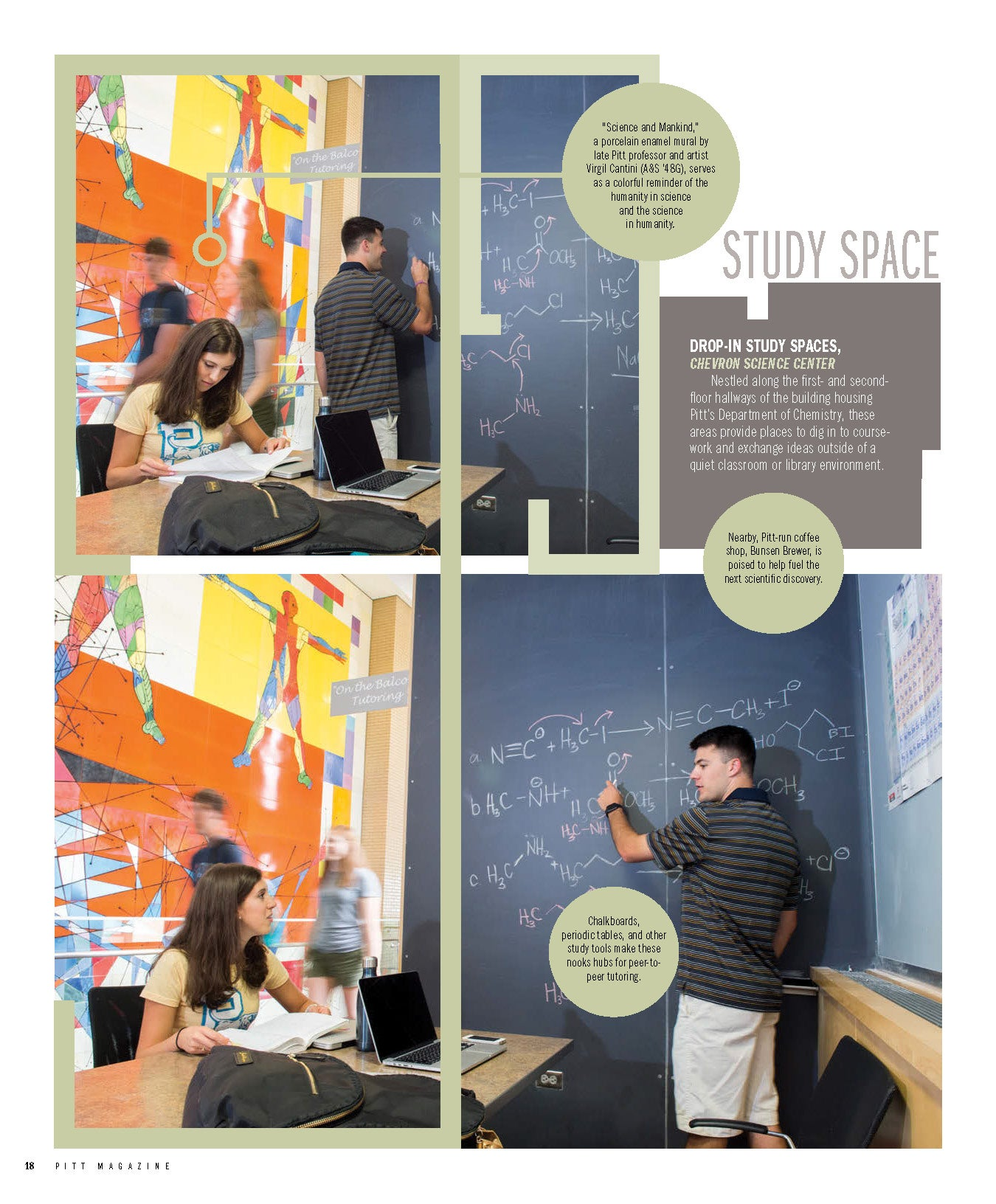Page from Pitt Magazine with photos of Chevron Science Center