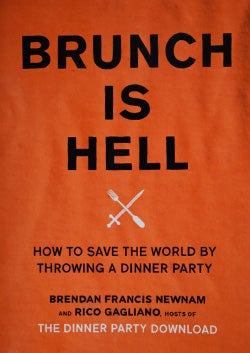"book cover of Brunk Is Hell, red background with fork and knife in shape of an ""x"""
