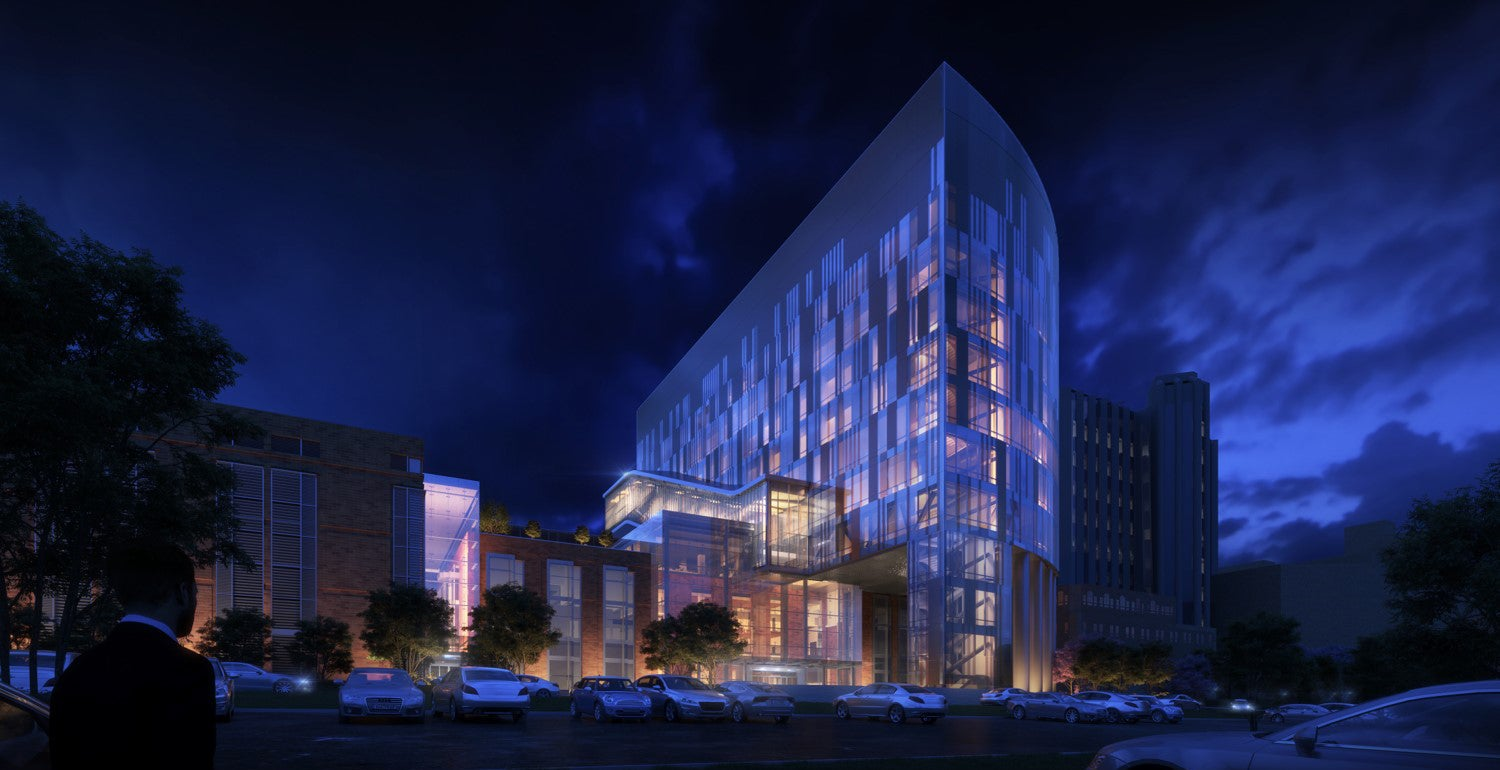 An artist's nighttime rendering of UPMC Vision and Rehabilitation at UPMC Mercy, the future home of the Louis J. Fox Center for Vision Restoration of UPMC and the University of Pittsburgh