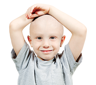 Little boy with no hair on his head or face