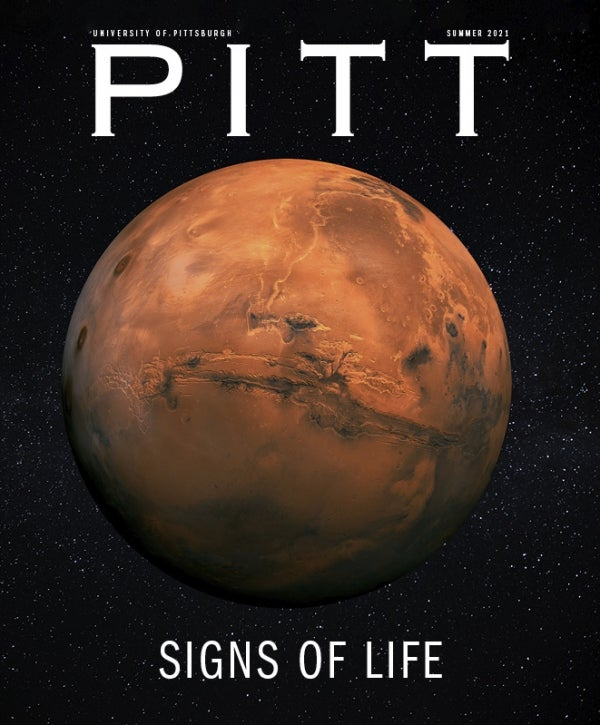 """PITT magazine cover, red planet with starry sky background, headline reads """"Signs of Life"""""""