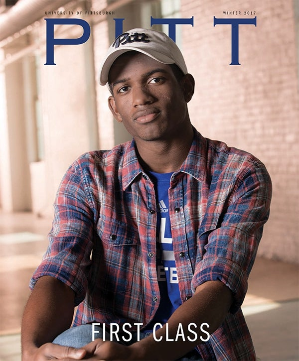 Julius Hubby on cover of Pitt Magazine Winter 2017 issue