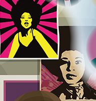 "posters of ""Betty,"" woman with Afro"