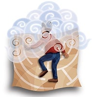 Illustration of person walking into foggy maze