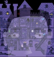 A screen showing a multi-level haunted house reflects the face of the mesmerized gamer