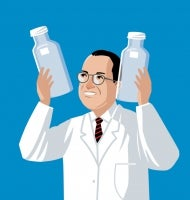 "Illustrated Jonas Salk stands in the spotlight on a medical files ""soapbox"" holding glass vessels"