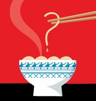 Noodle held by chopsticks and drop of broth form a question mark over a steaming bowl of noodles in a blue and white bowl.