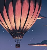 five pink hot air balloons rising into dusk