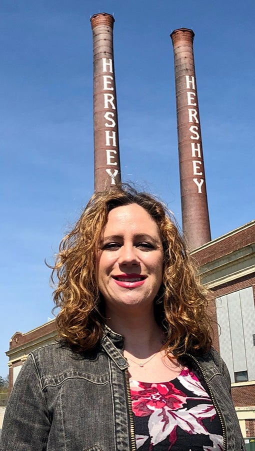 Tara Kennedy Griffiths outside of old Hershey factory
