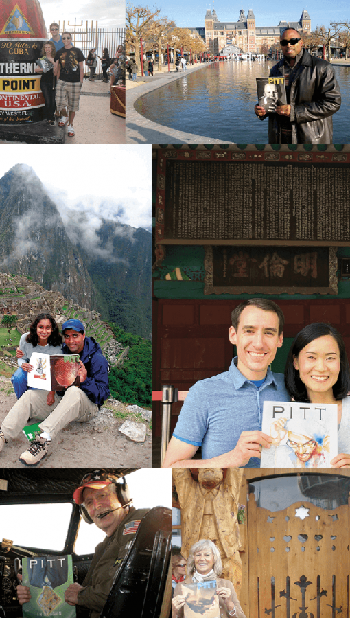 collage of people holding Pitt Magazine at places around the world