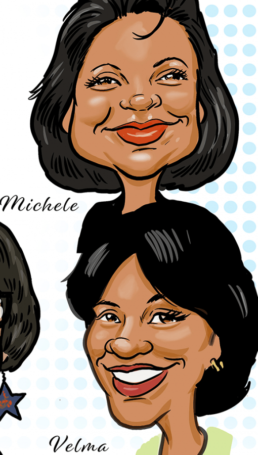 Color caricatures of Michelle and Velma of the Carlow 9