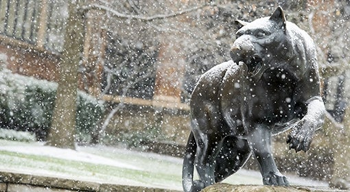 Panther statue outside of the William Pitt Union gets a dusting of snow.