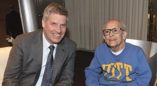 Chancellor Patrick Gallagher met L. Walter Sumansky (A&S '52) in Los Angeles.