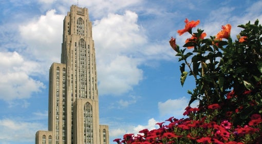 Cathedral of Learning and bright pink and orange flowers