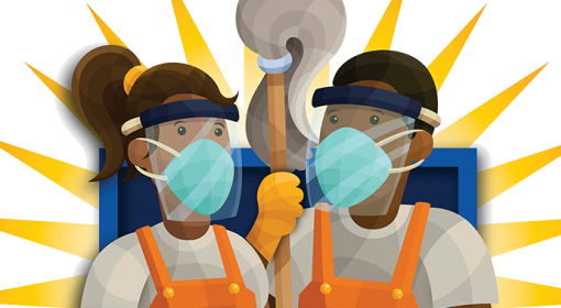 cleaning crew with masks, face shields, gloves, holding mop in front of blue shield