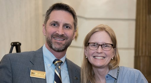 Jeff Gleim with Pitt alumna Lisa Golden in Harrisburg