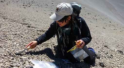 Janine Krippner collects sediment samples at volcano site.