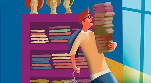 Illustration of retail worker carrying a pile of clothes items in a store.