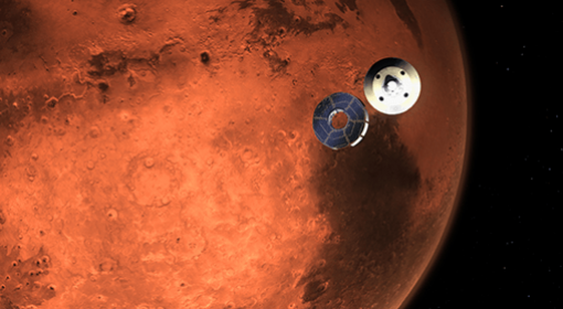 This illustration shows NASA's Perseverance rover casting off its spacecraft's cruise stage, minutes before entering the Martian atmosphere.
