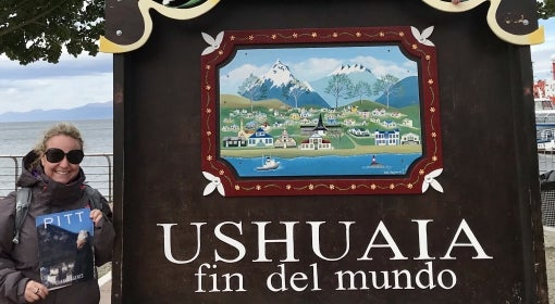 Julia Swenda at the end of the world in Ushuaia, Argentina