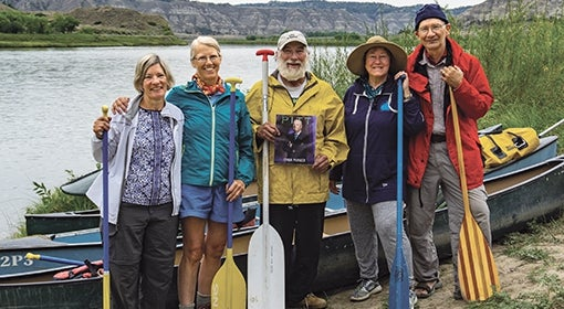 Adventurous friends: Assemble! Former members of Pitt's Outdoors Club reunited on a canoe trip on the Upper Missouri River. Pictured from left to right: Jean (Engan) Kolbe A&S '74, SOC WK '93; Patricia Anne (Sweeney) Campbell A&S '74, BUS '76; Rodney Cogliati ENGR '74; Carol Cronin A&S '74; and William Kowalik A&S '73.