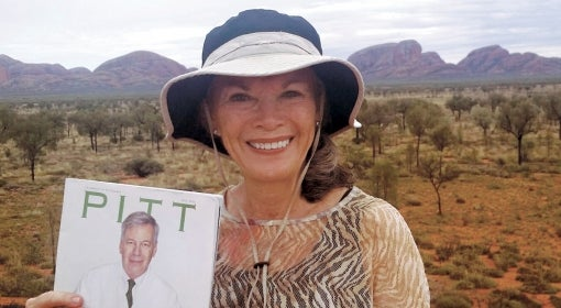 Barbara (Joyce) Franklin A&S '70 with Pitt Magazine at the Uluru-Kata Tjuta National Park in Australia's Northern Territory.