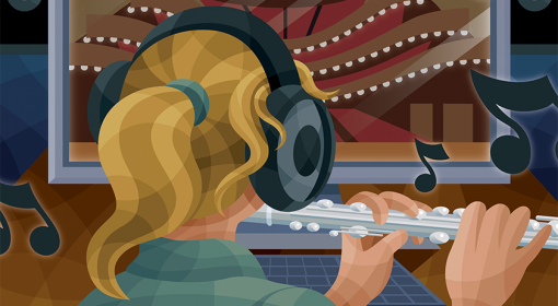 illustration of blond woman with ponytail wearing black earphones playing flute in front of computer screen