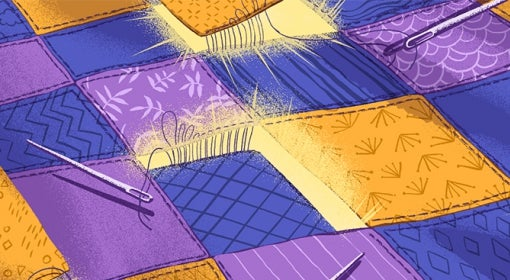 illustration of indigo, orange and purple patchwork quilt stitched with many needles