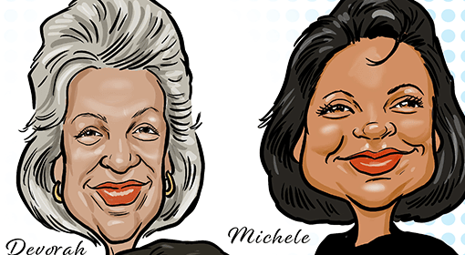 """color caricatures drawing of Devorah and Michele of the Carlow 9, with caption """"Carlow 9 Pitt Reunion 2020"""""""