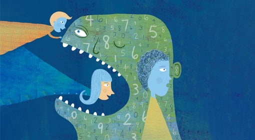 illustration in which three people investigate green, dinosaur-like creature with numbers on it