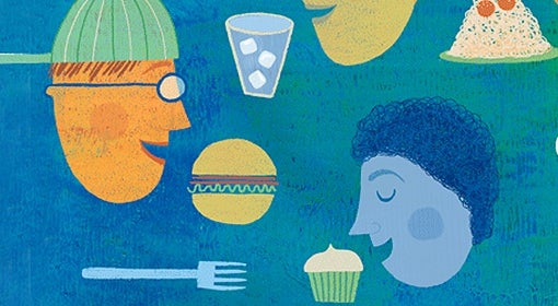 illustration of people's heads, eating utensils, glass of ice water, hamburger, spaghetti with meatballs, and cupcake floating over turquoise background