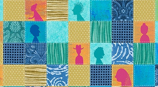 illustration of multicolor-squared quilt with profiles of people inside some squares