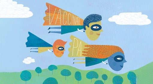 """illustration of three masked, caped people flying over landscape of trees, the words """"Vaccinate"""" and """"PA"""" on two of the three capes"""
