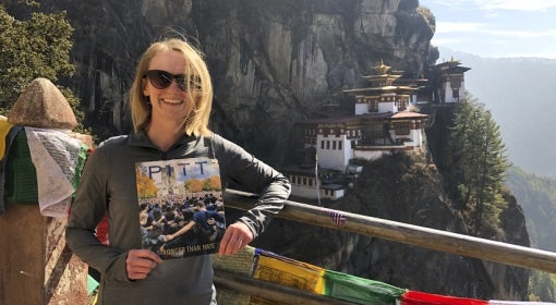 Jessica Rozek with Pitt Magazine in Bhutan